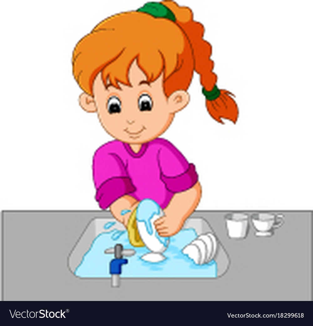 Free clipart washing dishes graphic black and white download Girl washing the dishes graphic black and white download