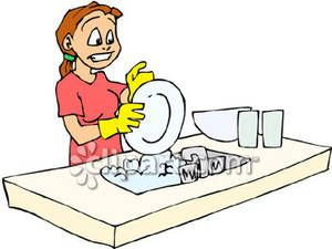 Yo tengo que lavar. Free clipart washing dishes