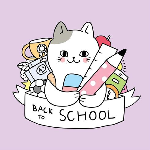 Cartoon cute to school. Free clipart welcome back from the cats