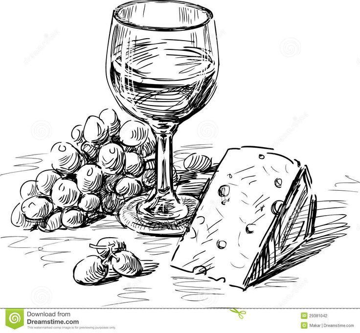 Free clipart wine and cheese on table image freeuse stock Vector drawing of a wine glass, grape and cheese. | Drawings in 2019 ... image freeuse stock