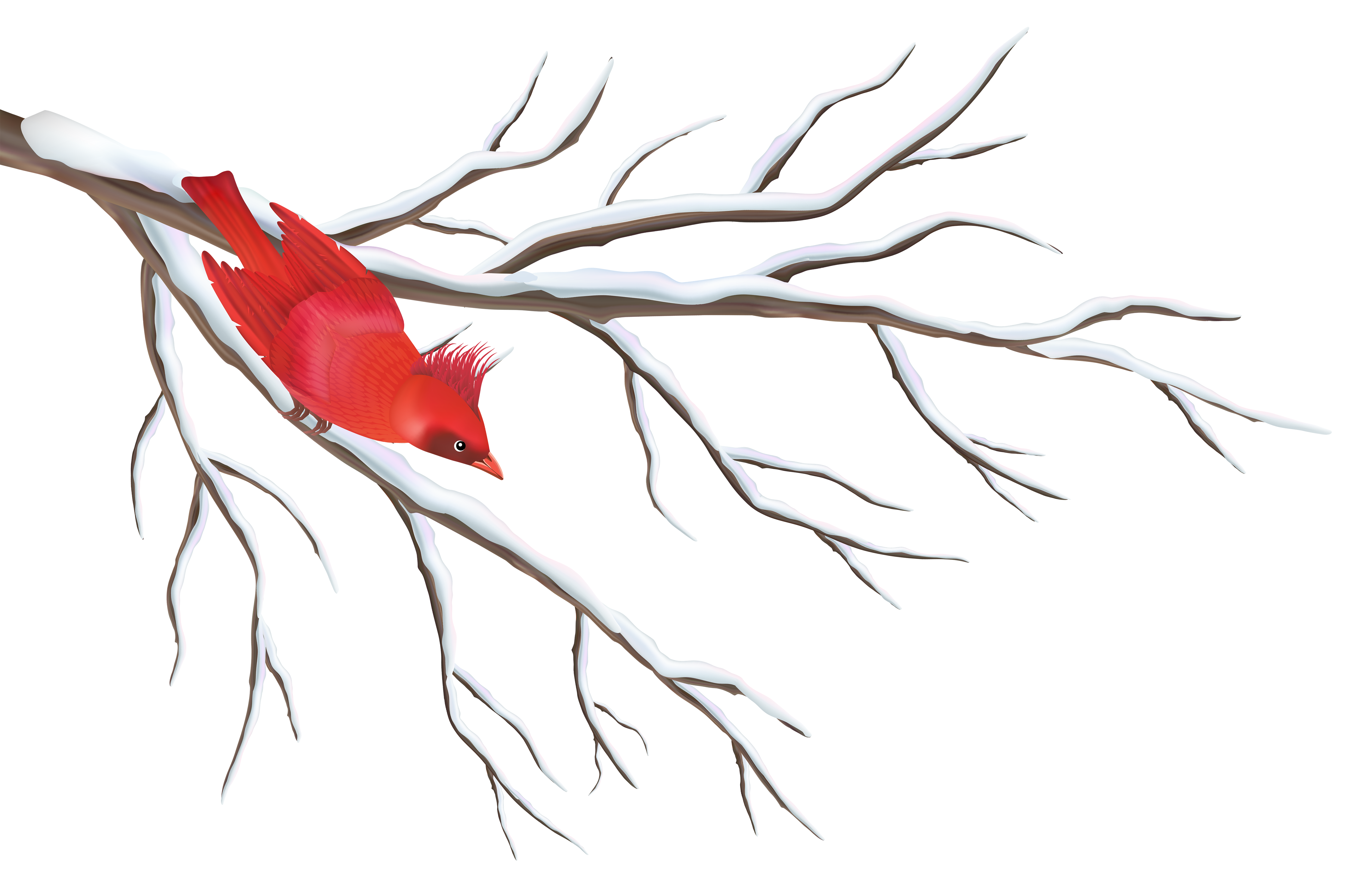 Free clipart winter branch graphic royalty free Winter Branch with Bird PNG Clipart Image   Gallery Yopriceville ... graphic royalty free