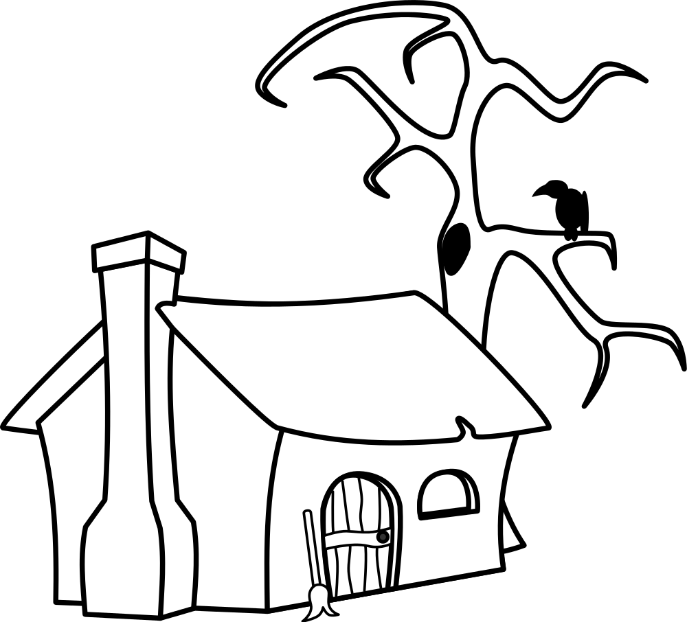 Free clipart witch house picture black and white File:Witch's cottage in black and white.svg - Wikimedia Commons picture black and white