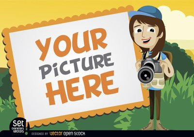 Free cliparts images photo camera and frame. Picture with girl clipart