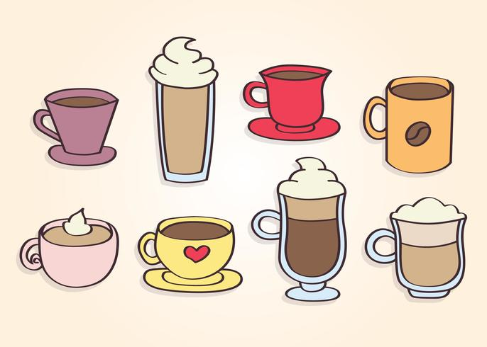 Free coffee clipart graphics. Hand drawn cups vector