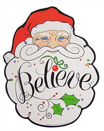 Free color santa peek a boo clipart. Believe claus christmas magnet