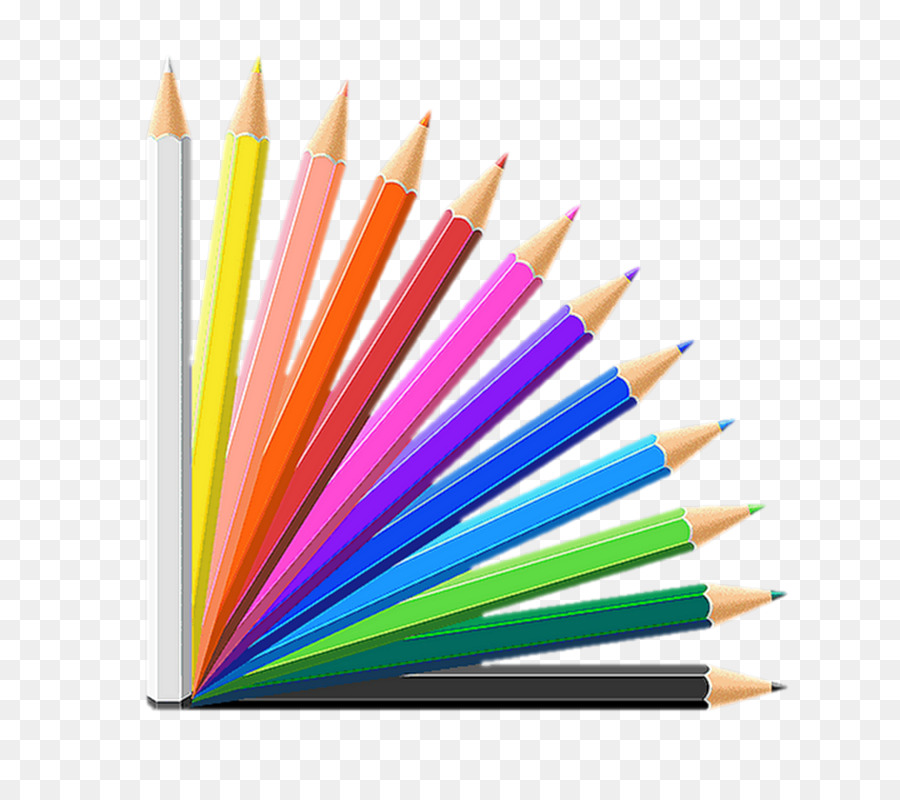 Free colored pencil clipart. School supplies cartoon png