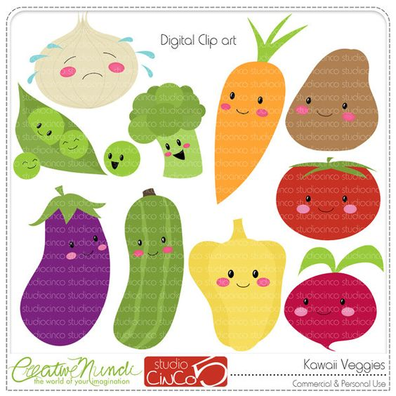 Free commercial use clipart svg freeuse download Kawaii Veggies - Digital Clip Art , Commercial Use Clipart ... svg freeuse download