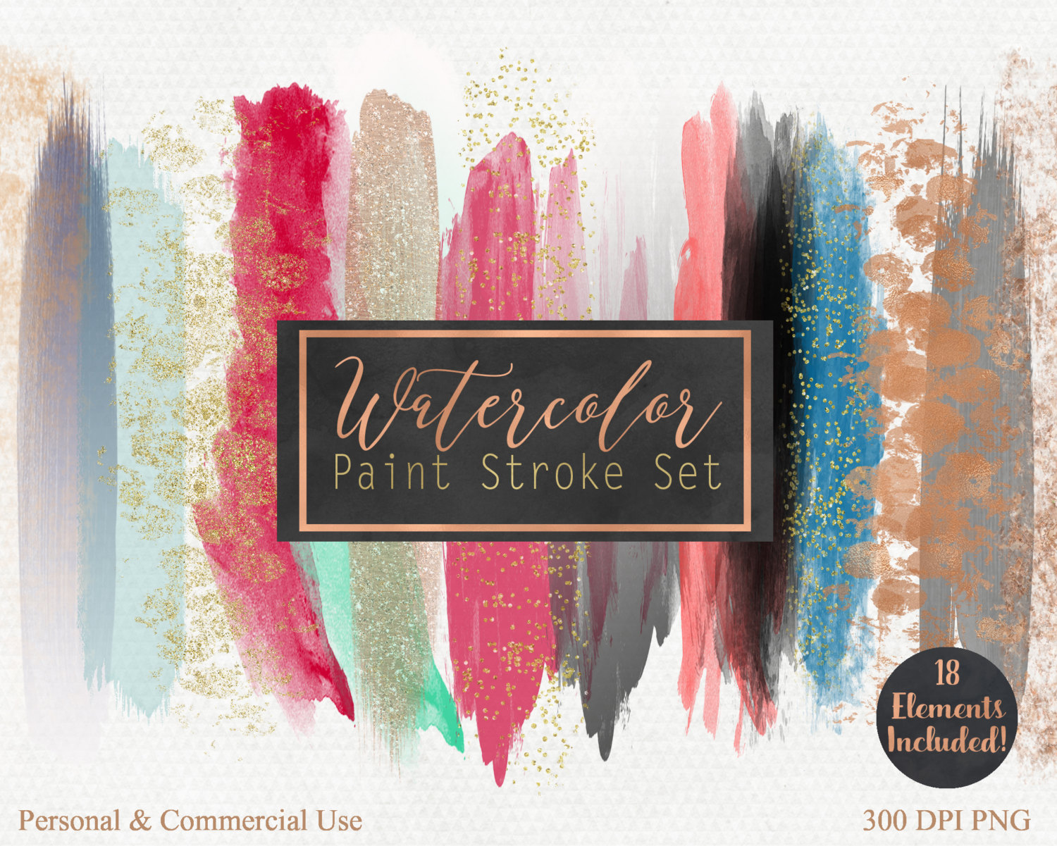 Free commercial use clipart for logo png freeuse WATERCOLOR & ROSE GOLD Brush Stroke Clipart Commercial Use Clip ... png freeuse