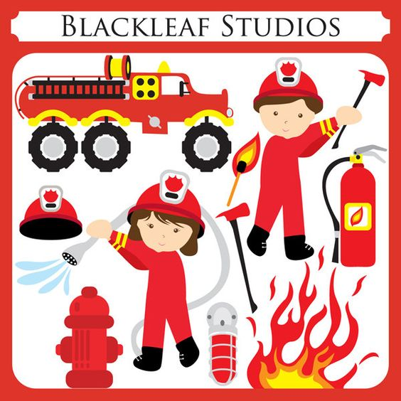Free commercial use clipart for logo png free download Fire Fighters - fire engine, boy, girl, extinguisher, water ... png free download