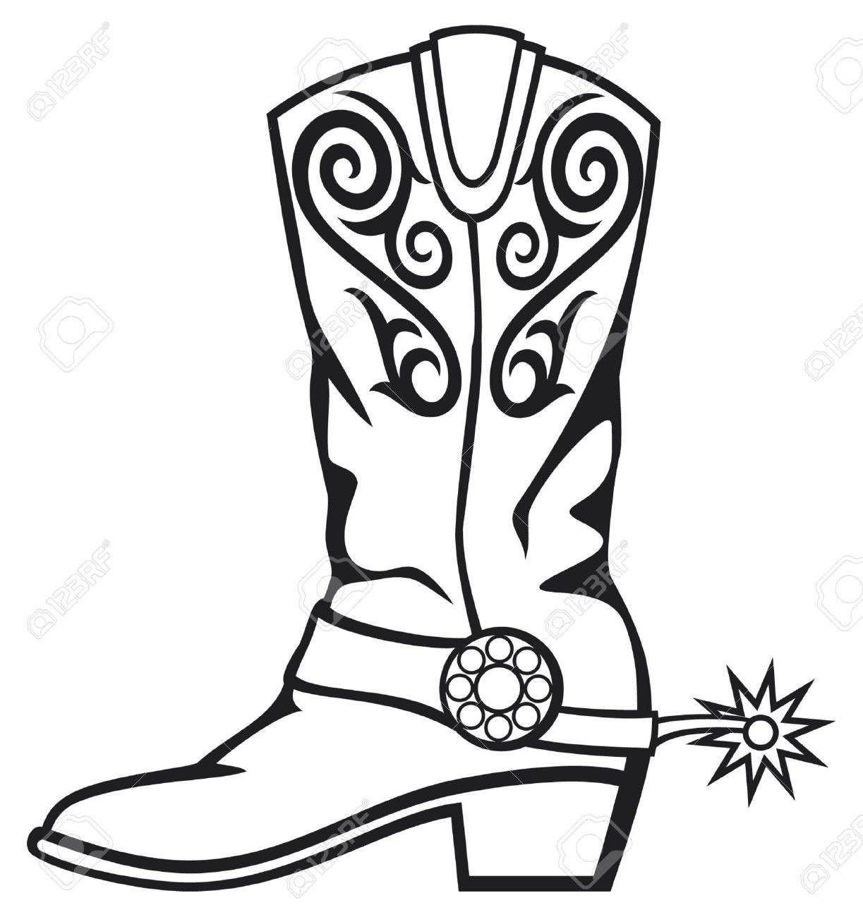 Free commercial use cowboy spurs clipart black and white stock boots clipart western boot #448 | Collage quilt ideas | Cowboy boots ... black and white stock