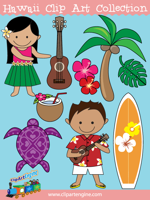 Free copyright free clipart vector for commercial use. Hawaii clip art collection