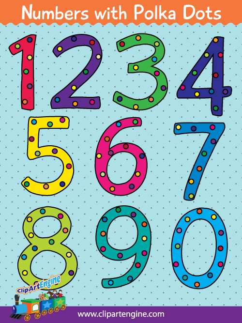 Free copyright free clipart vector for commercial use. Our numbers with polka