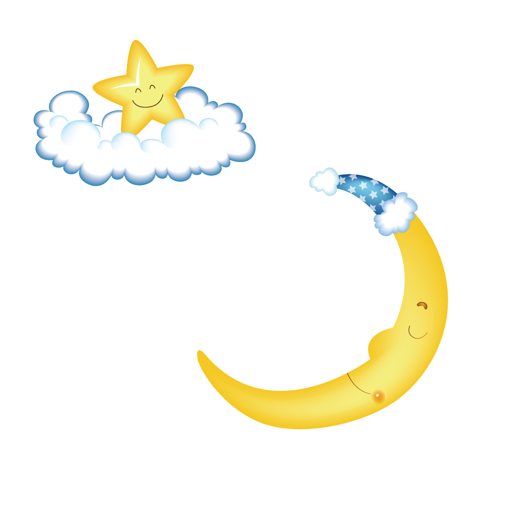 Moon and star clipart transparent Hat Moon Designer Clip art - Wearing a hat cute moon and stars on ... transparent