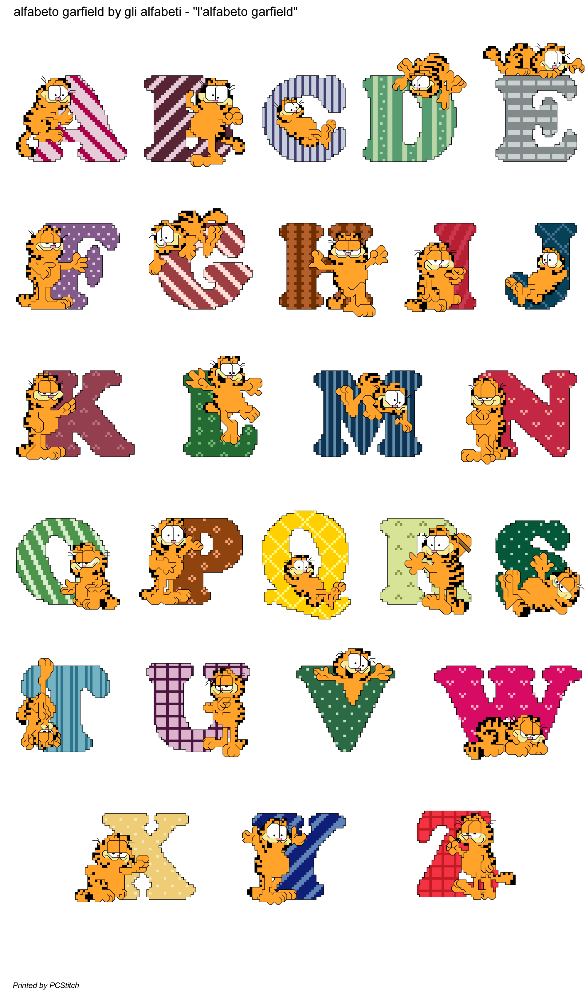 Free cross stitch clipart picture freeuse library alfabeto garfield | KIRJAIMET & NUMEROT | Pinterest | Cross stitch ... picture freeuse library