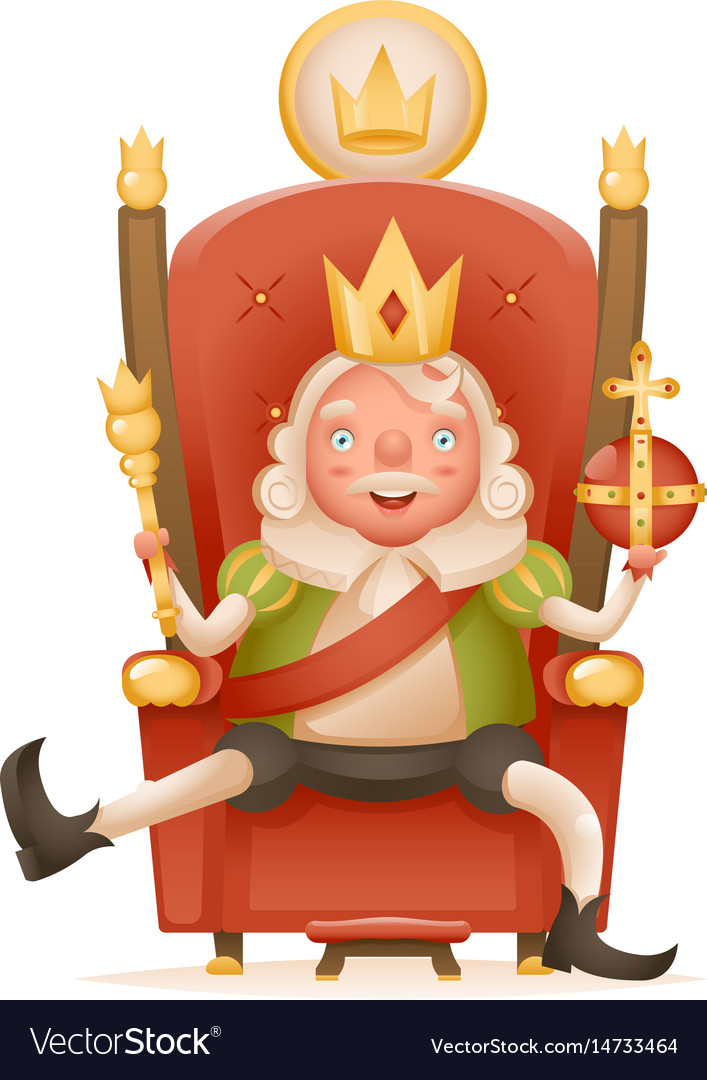Free cute king on a throne clipart. Cheerful ruler crown head