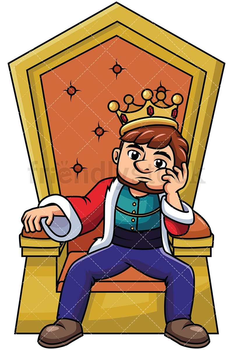 Free cute king on a throne clipart. Young sitting thinking jobs
