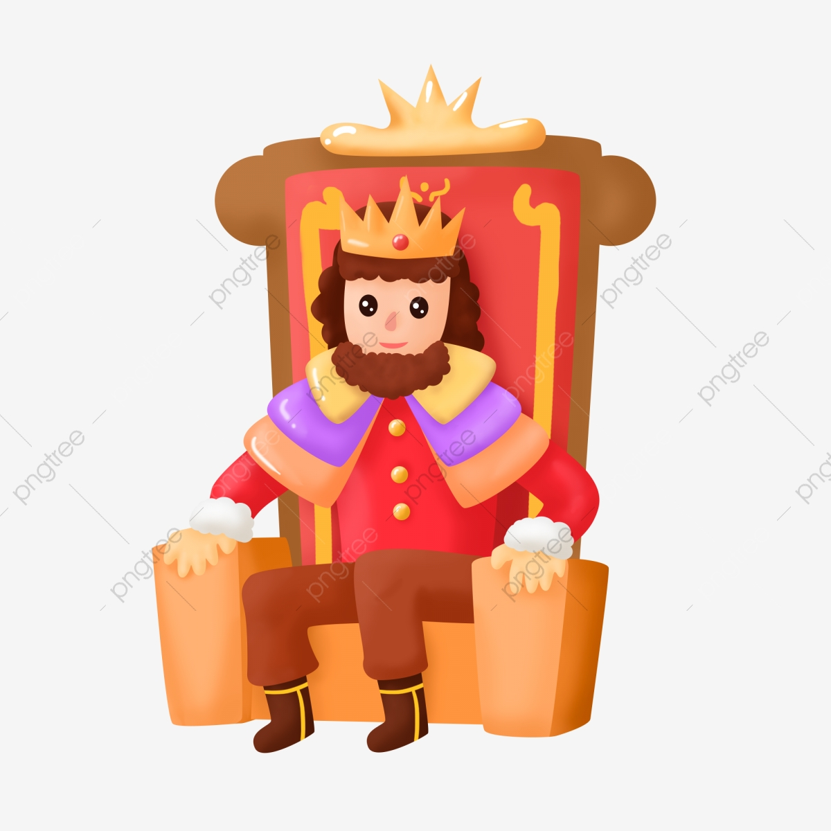 Free cute king on a throne clipart. Hand drawn wind cartoon