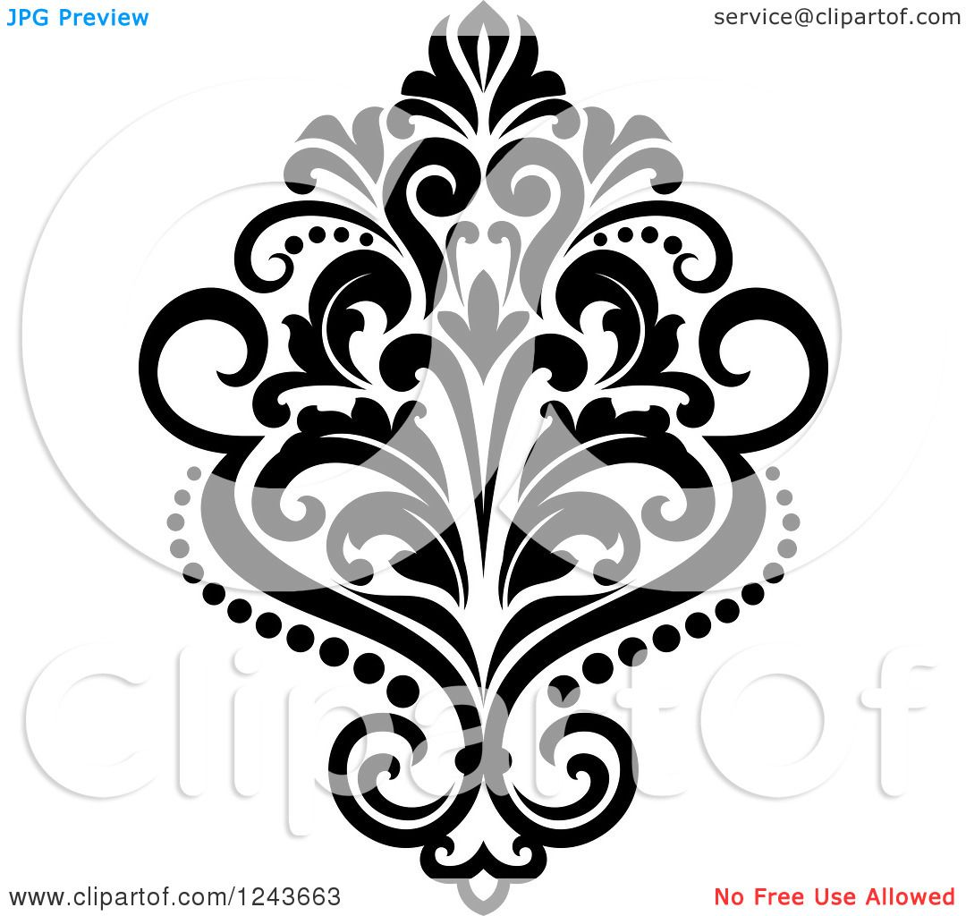 Free damask clipart. Of a black and