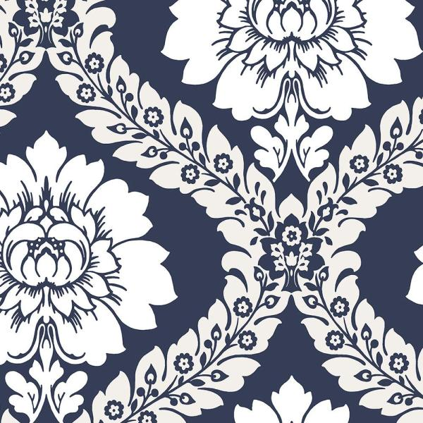 Free damask oards navy blue grey & white clipart clip art black and white download Daisy Damask Wallpaper clip art black and white download