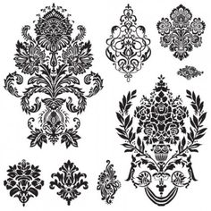 Free damask oards navy blue grey & white clipart banner royalty free library 151 Best Free Floral, Victorian, and Damask Vectors images in 2018 ... banner royalty free library