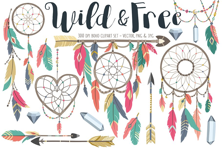 Boho tribal . Free design elements clipart