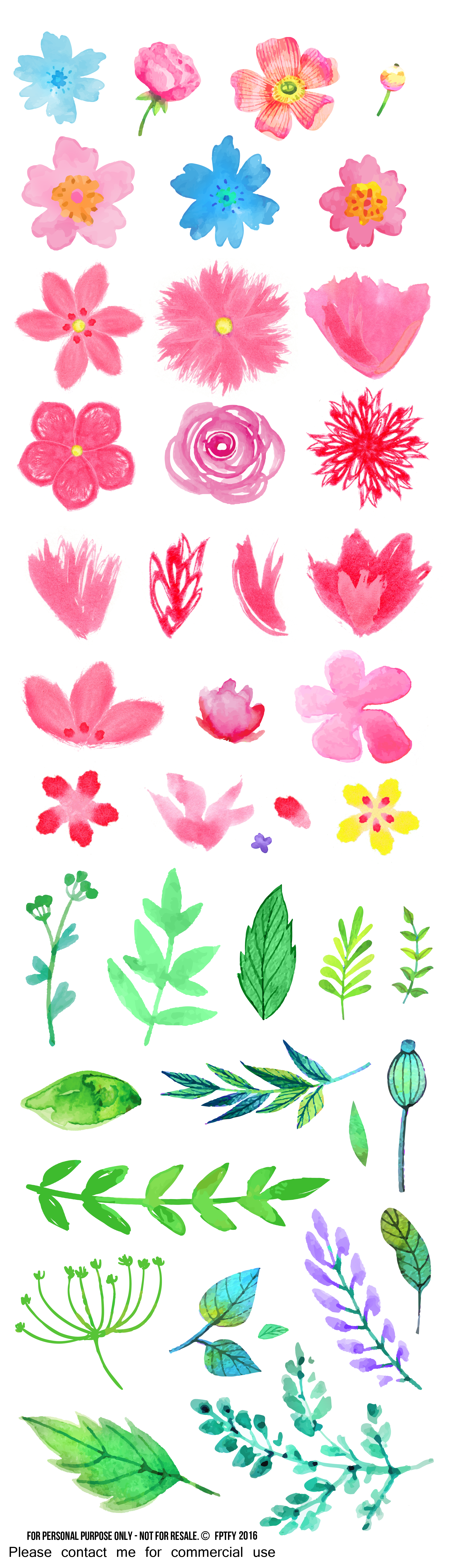 Free digital clipart clip art black and white library Free Watercolor Flower ClipArt - Free Pretty Things For You clip art black and white library