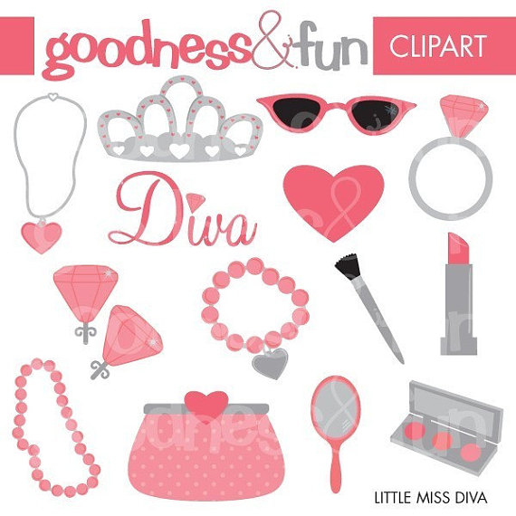 Free diva clipart svg black and white Buy 2, Get 1 FREE - Little Miss Diva Clipart - Digital Jewelry ... svg black and white