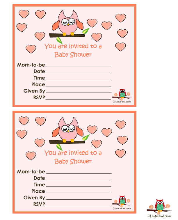 Free diy girl baby showers owls clipart banner royalty free 11 Free printable Owl Baby Shower Invitations banner royalty free
