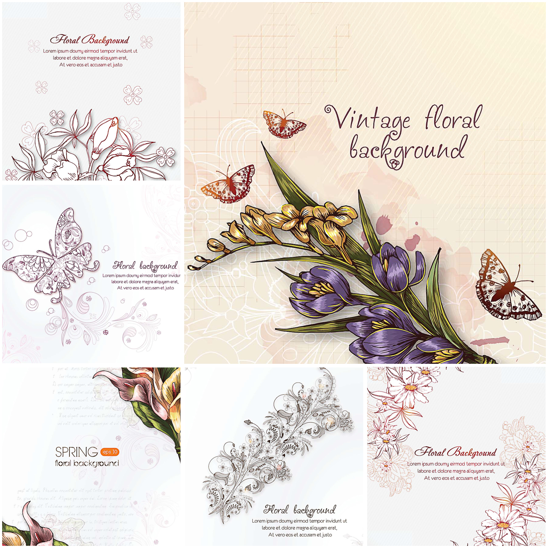 Free download flower background clipart transparent download Vintage floral background set   Free download clipart transparent download