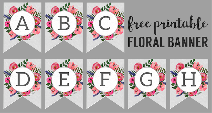 Floral banner printable paper. Free downloadable clipart of individual alphabet letters