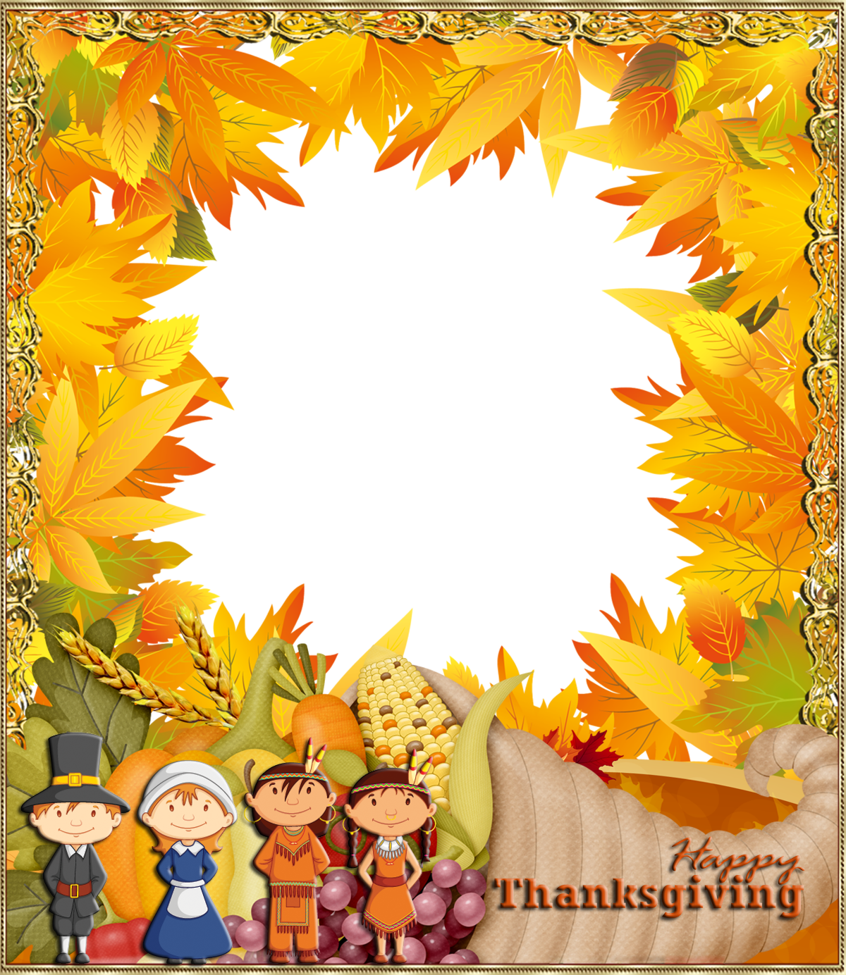 Happy thanksgiving border clipart png library stock Happy Thanksgiving PNG Photo Frame | Gallery Yopriceville - High ... png library stock