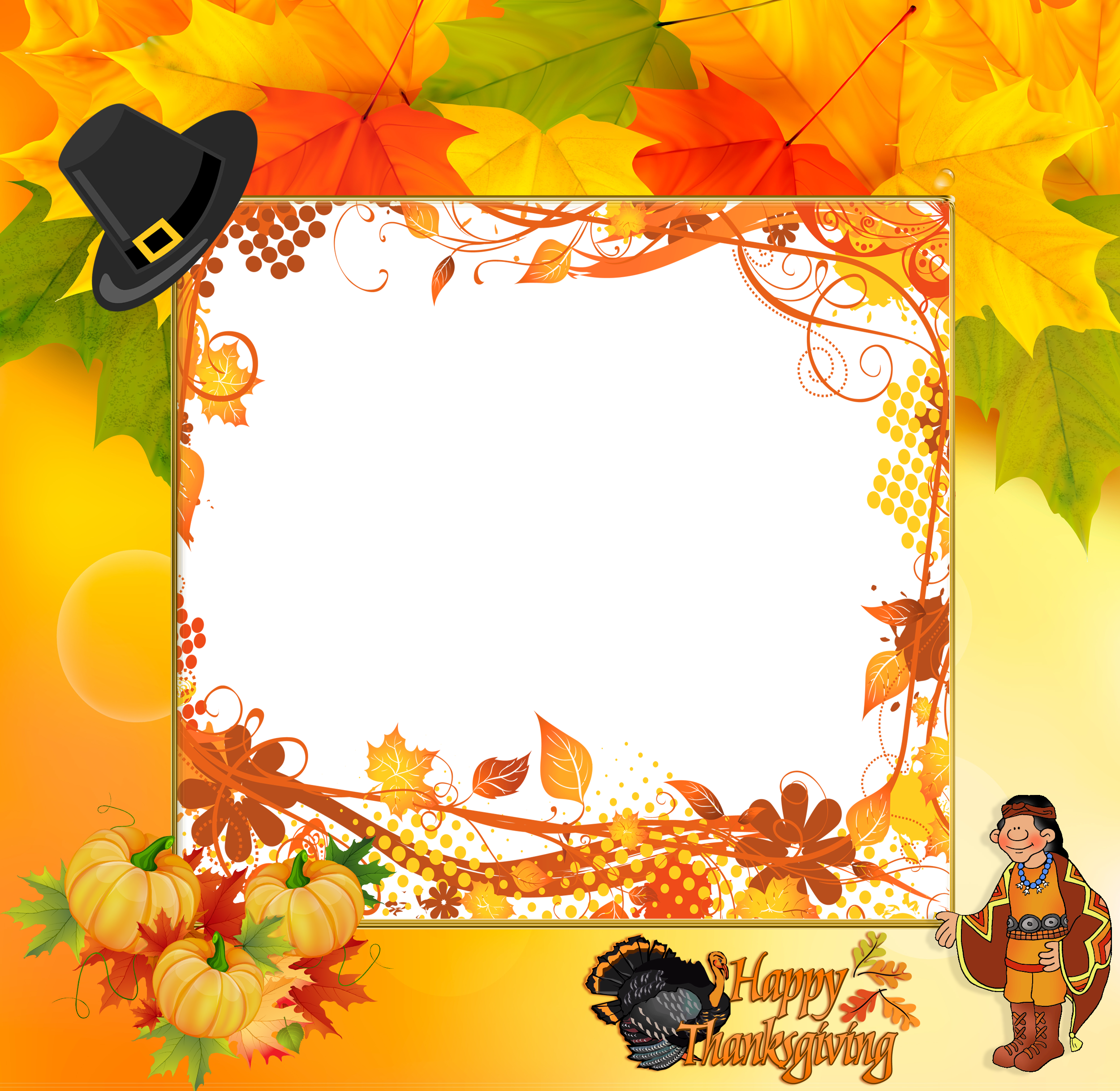 Happy thanksgiving border clipart vector royalty free download Transparent Happy Thanksgiving Frame | Gallery Yopriceville - High ... vector royalty free download