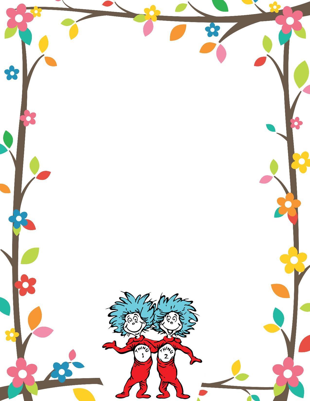 Free dr seuss border clipart stock Dr Seuss Border Invitation Free Print stock