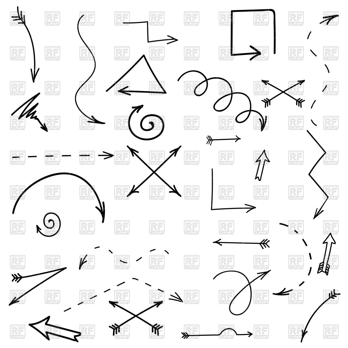 Free drawn arrow clipart svg stock Set of hand drawn arrows Vector Image #67641 – RFclipart svg stock