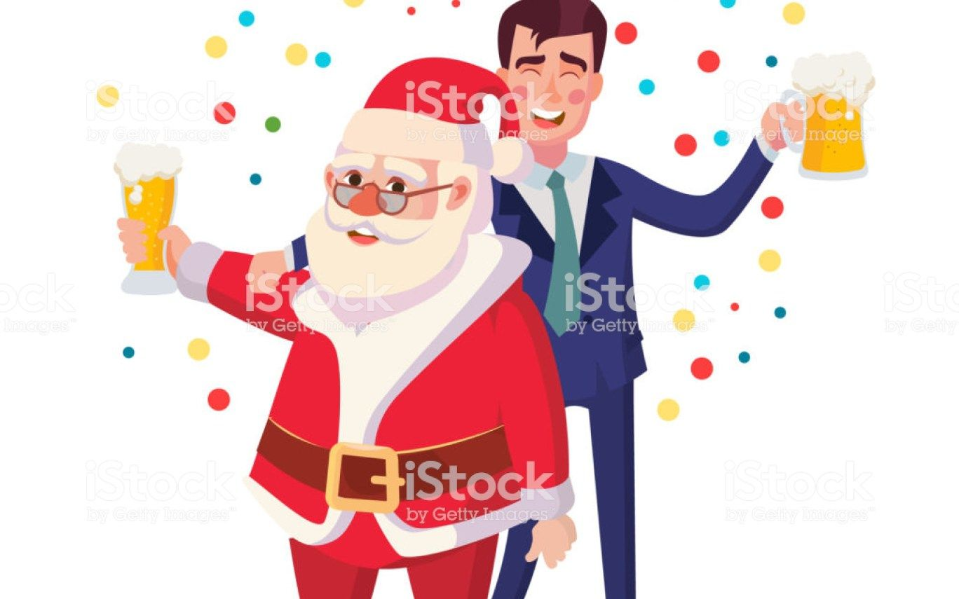Free drunk santa clipart black and white Royalty Free Cartoon Of The Santa Claus Drinking Beer Clip Art ... black and white