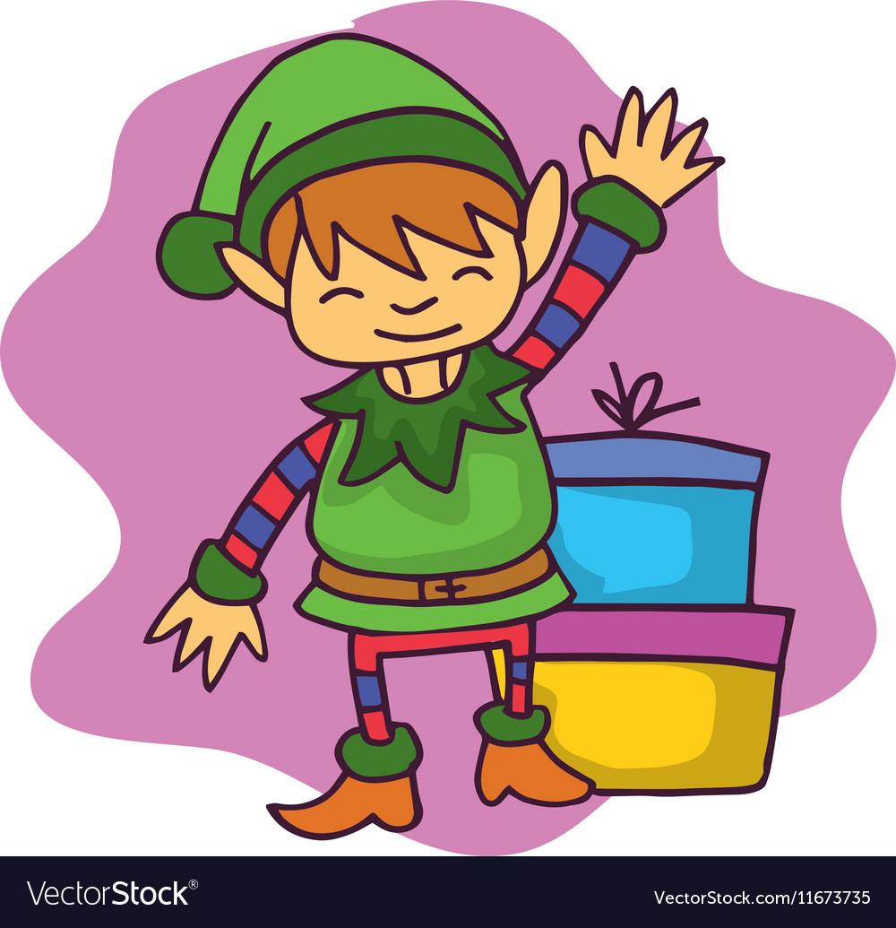 Free elf waving clipart png transparent Cartoon elf waving with gift Christmas png transparent