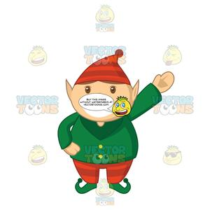 Free elf waving clipart vector library download Short Chubby Elf With A Big Smile And Waving vector library download