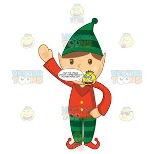 Free elf waving clipart image transparent Christmas Elf With A Big Smile Waving image transparent