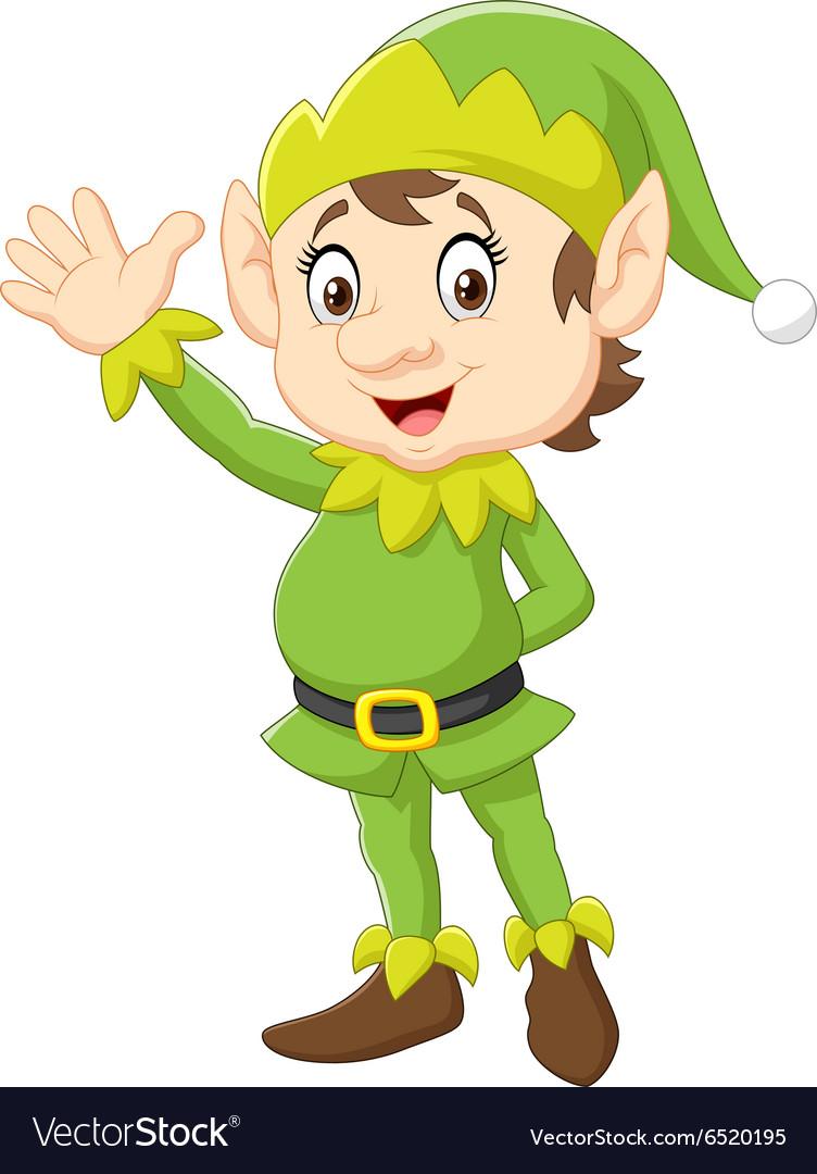 Free elf waving clipart clip transparent stock Cartoon Cute Christmas elf waving hand clip transparent stock