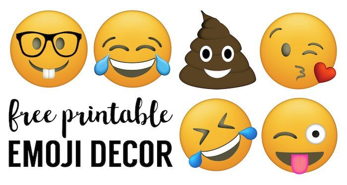 Free emoji clipart party banner royalty free Emoji Faces Printable {Free Emoji Printables} - Paper Trail Design banner royalty free