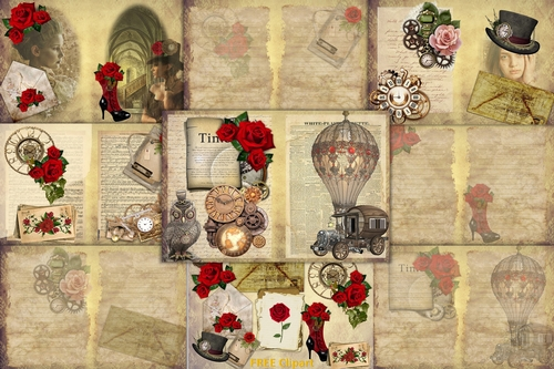 Steampunk journaling backgrounds kit. Free ephemera clipart