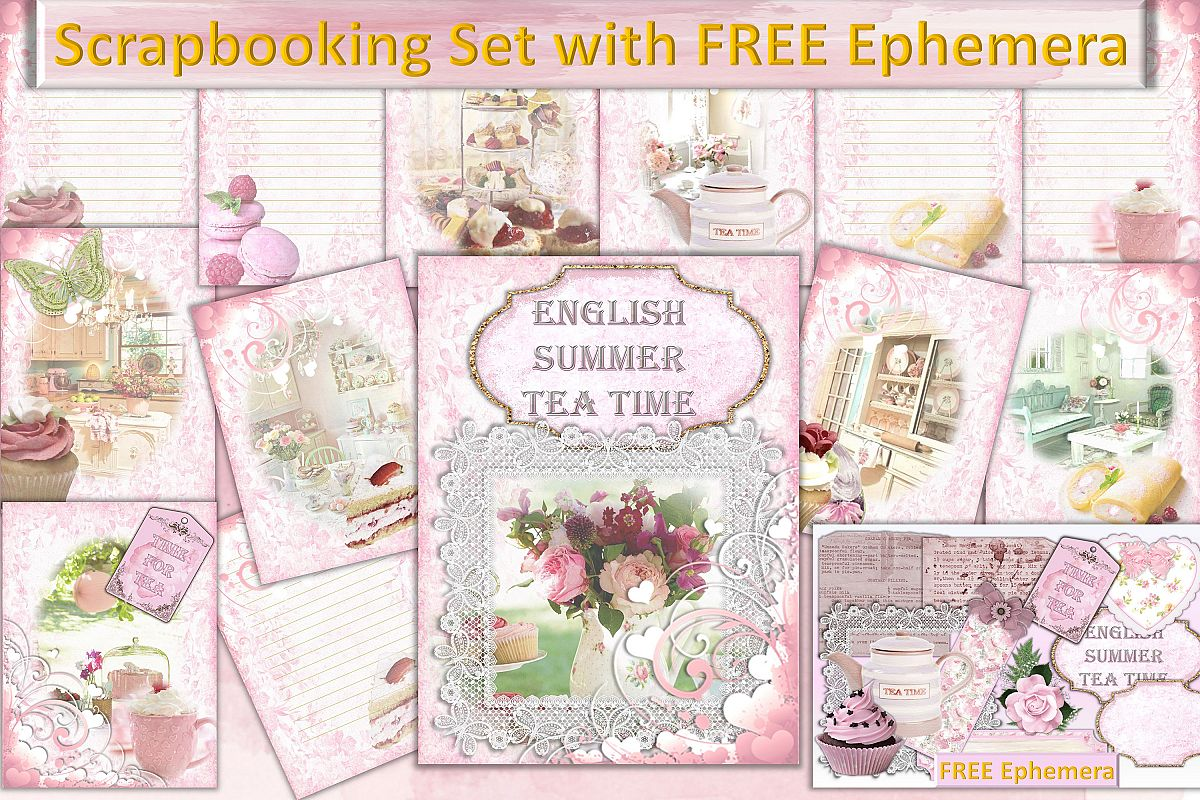 Free ephemera clipart. Scrapbooking kit with and