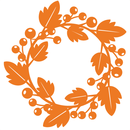 Free fall wreath clipart clipart black and white library Fall Wreath SVG scrapbook cut file cute clipart files for silhouette ... clipart black and white library