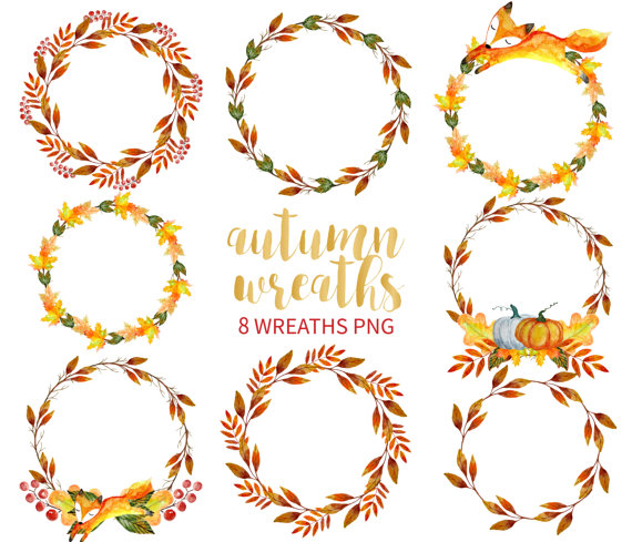 Free fall wreath clipart clipart free stock Autumn Wreath Clipart, Watercolor Wreath Clipart, Hand Drawn Wreaths ... clipart free stock