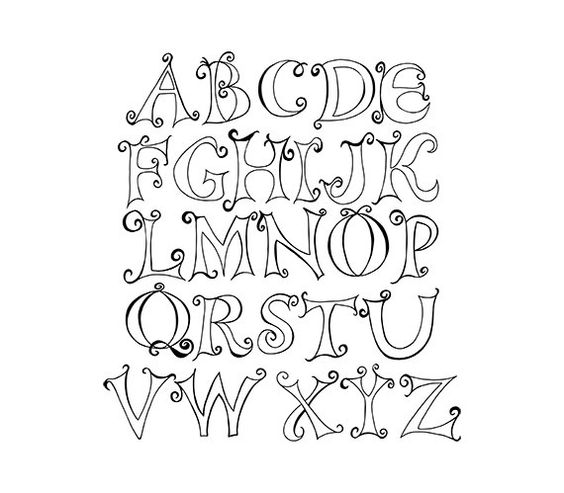 Free fancy christmas alphabet clipart vector black and white download Doodle Capital Letter Alphabet Digital Clipart | 641 Digital - My ... vector black and white download