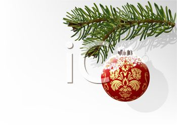 Free fancy christmas clipart picture royalty free stock Elegant Christmas Ornament Hanging on a Realistic Fir Tree Branch ... picture royalty free stock