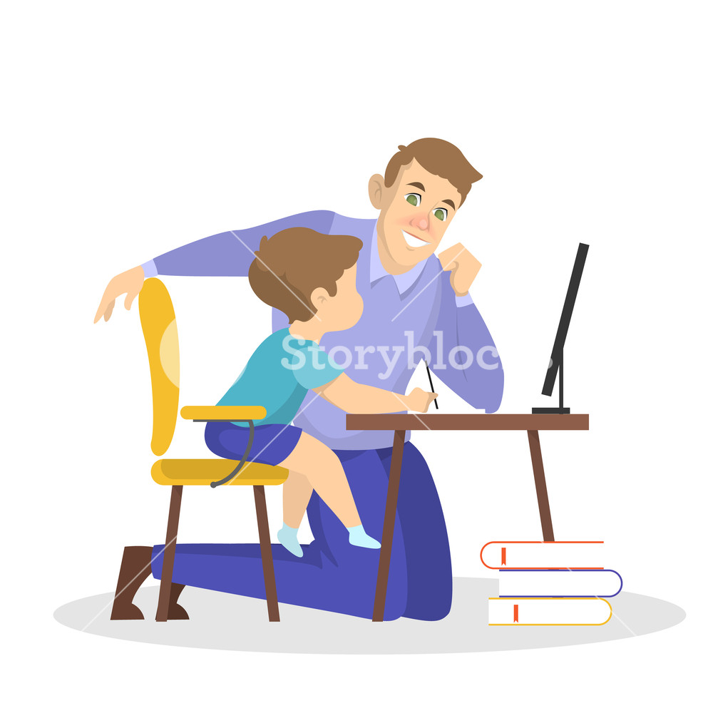 Free father and child homewqork clipart clip art freeuse download Father and son doing school homework together Royalty-Free Stock ... clip art freeuse download