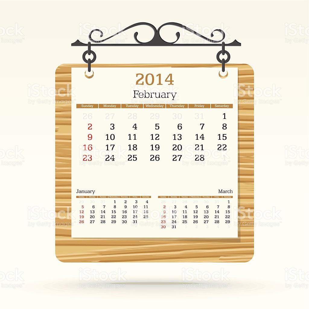 Free february 2014 calendar clipart jpg freeuse download February 2014 Calendar stock vector art 465992597 | iStock jpg freeuse download