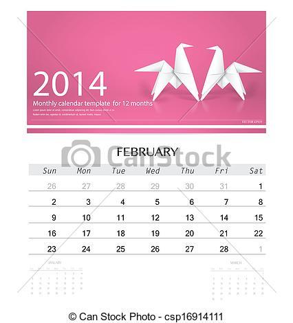 Free february 2014 calendar clipart banner transparent library Vector Clip Art of 2014 calendar, monthly calendar template for ... banner transparent library