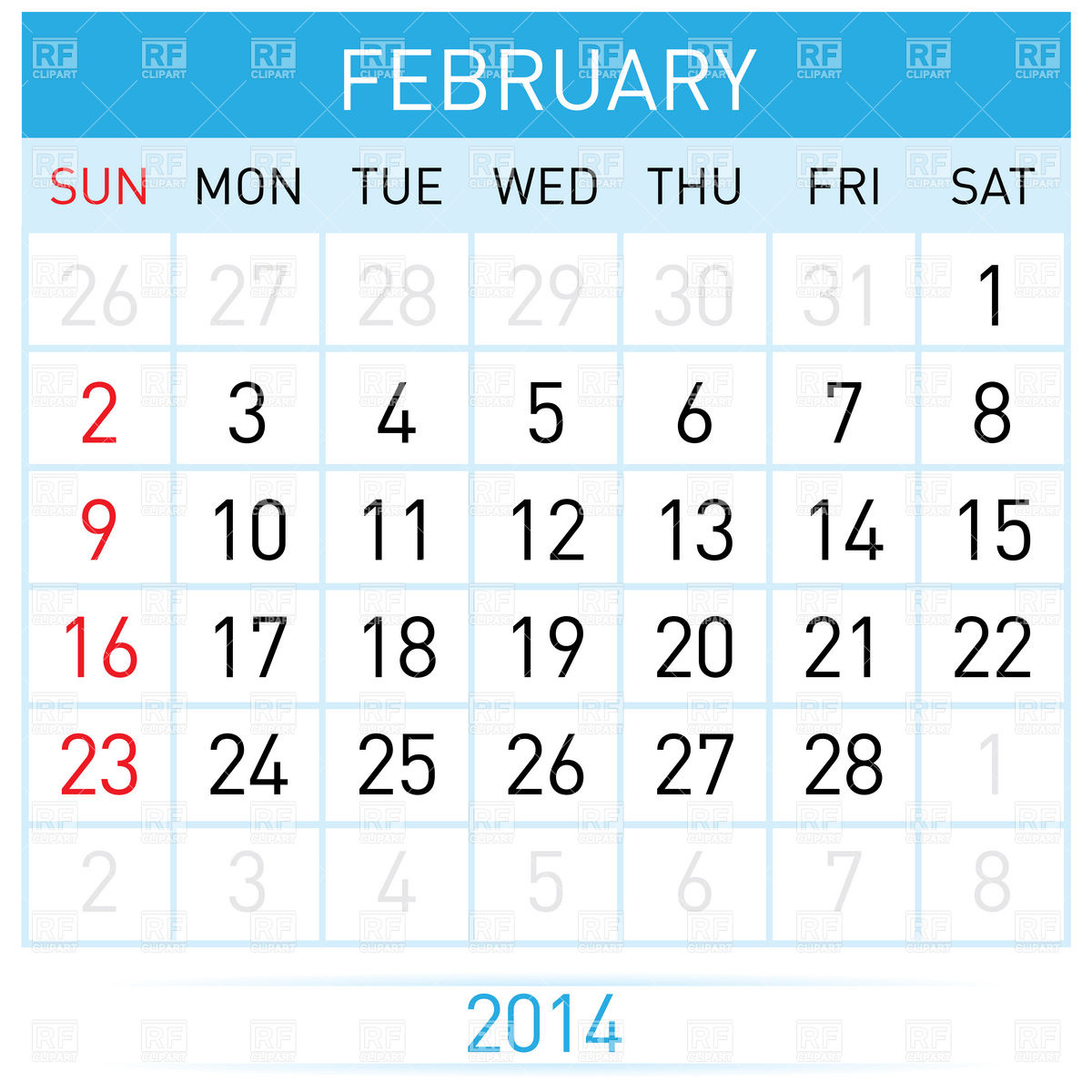 Free february 2014 calendar clipart clip free download February 2014 month calendar Vector Image #7008 – RFclipart clip free download